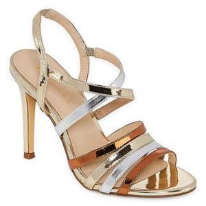 NIB Sexy Metallic Tri-color Strappy ANGELICA Heels